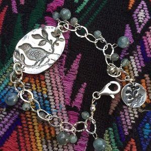 Sterling silver bird charm bracelet blue gemstones